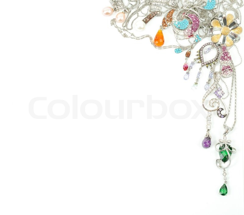 Jewelry From White Gold Isolated On White Background