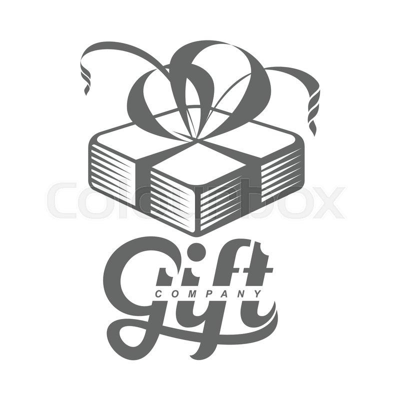 Black And White Graphic Line Art Gift Box Logo Templates