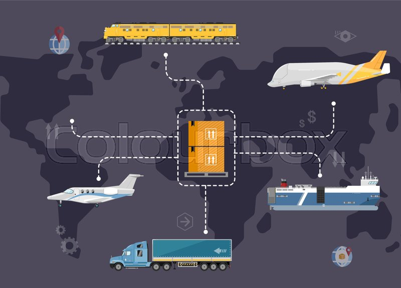Global logistics network concept  Worldwide delivery of goods     Global logistics network concept  Worldwide delivery of goods logistics and  transportation  Air cargo trucking  rail transportation  maritime shipping