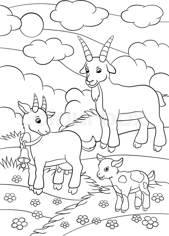 Coloring Pages Farm Animals Goat Stock Vector Colourbox