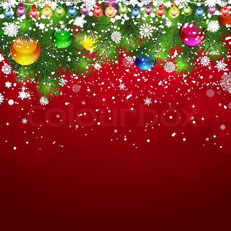 Julen Baggrund Med Snedkkede Grene Af Juletret Pyntet