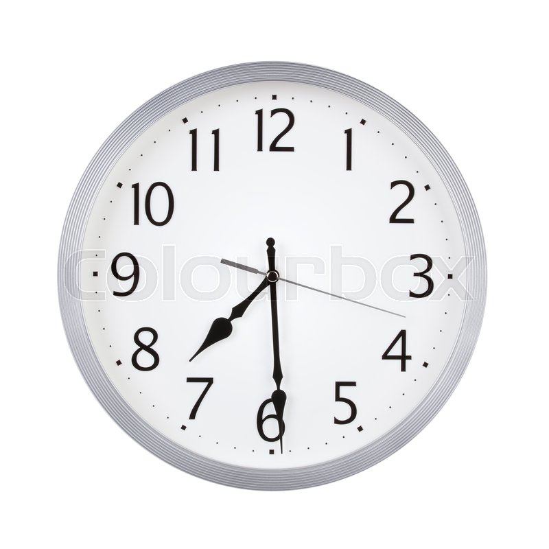 Half past seven o'clock on the dial ...   Stock image   Colourbox