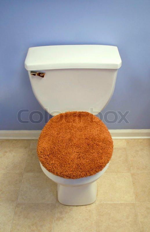 A Modern Looking Toilet With A Fuzzy Orange Toilet Seat