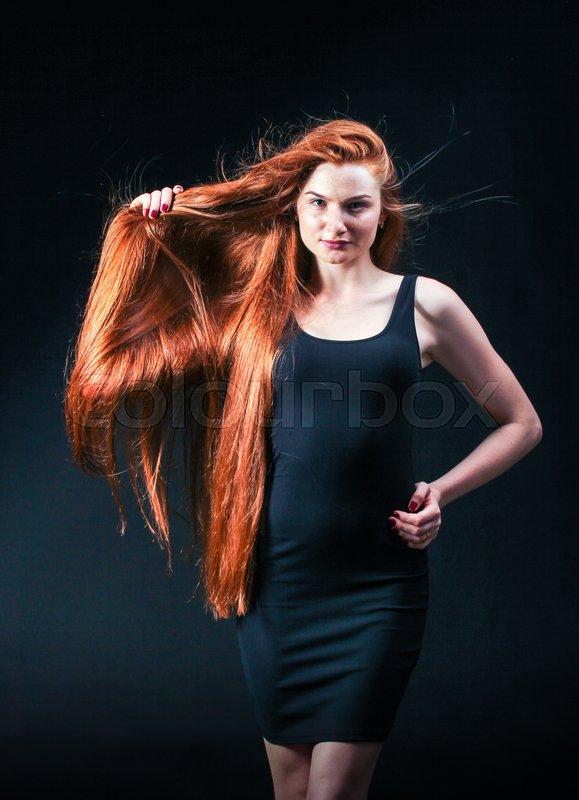 Beauty Ginger Girl Portrait Healthy Stock Photo