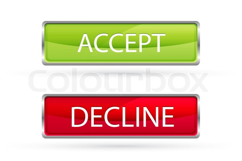 Illustration Of Accept And Decline Buttons On White