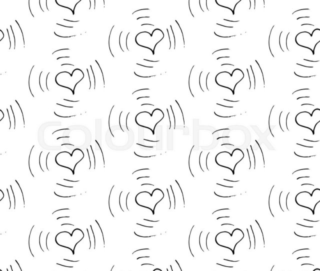 Abstract Heart Pattern With Hand Drawn Hearts Cute Vector Black And White Heart Pattern Trendy Monochrome Doodle Heart Pattern For Fabric Wallpapers
