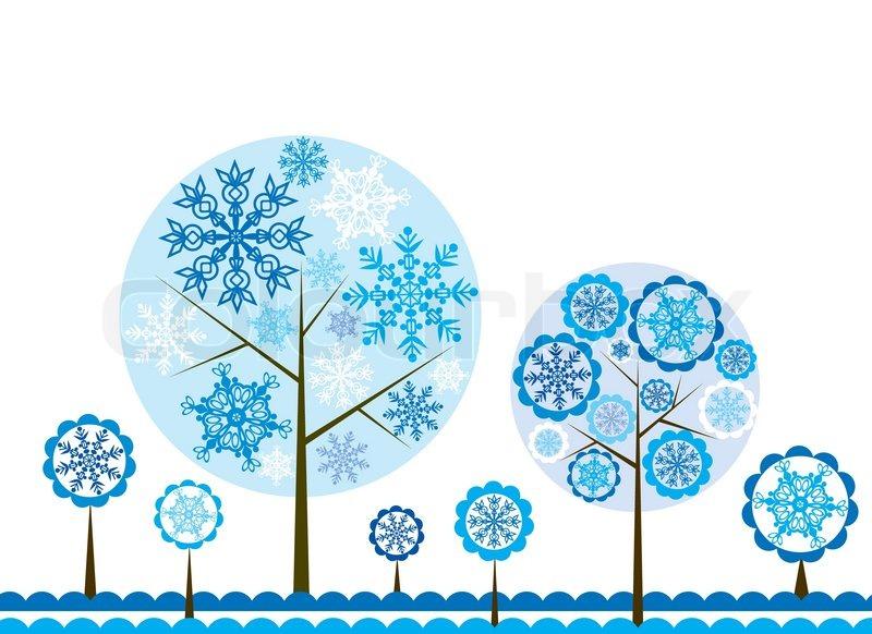Tree Winter Background Vector Illustration Stock Vector