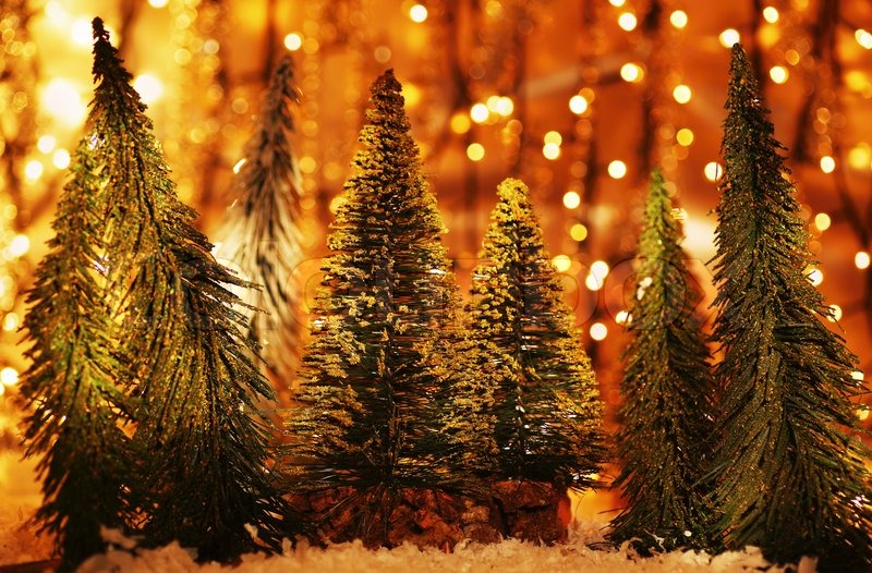 Christmas Tree Forest Holiday Background With Winter