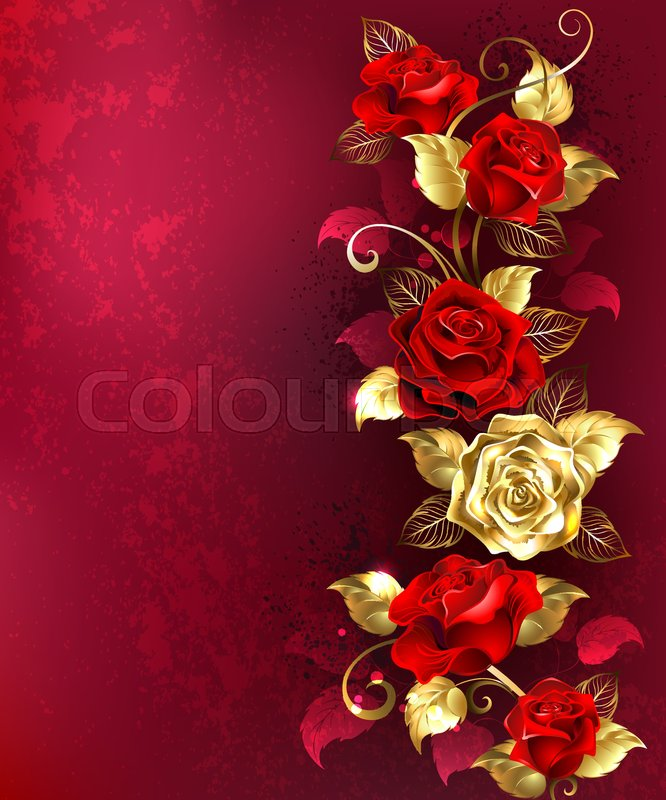 Vertical Composition Of Red And Gold Jewelry Roses With