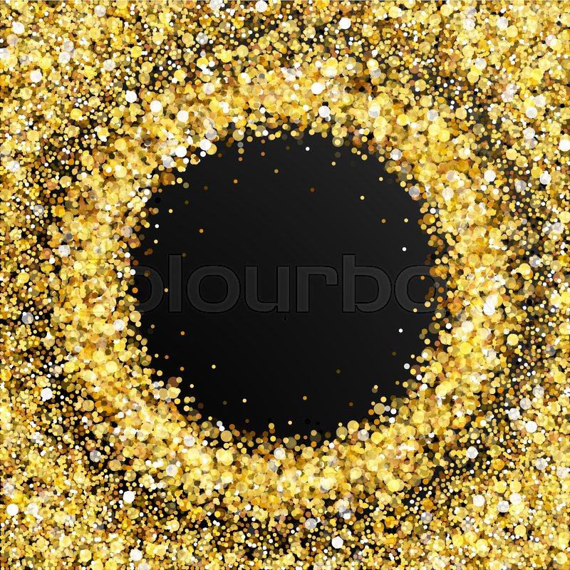 Gold Glitter Frame With Empty Space For Text Scattered