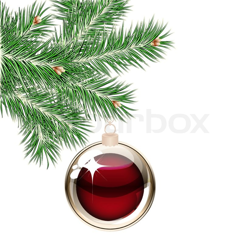 Christmas Tree And Transparent Balls Stock Vector