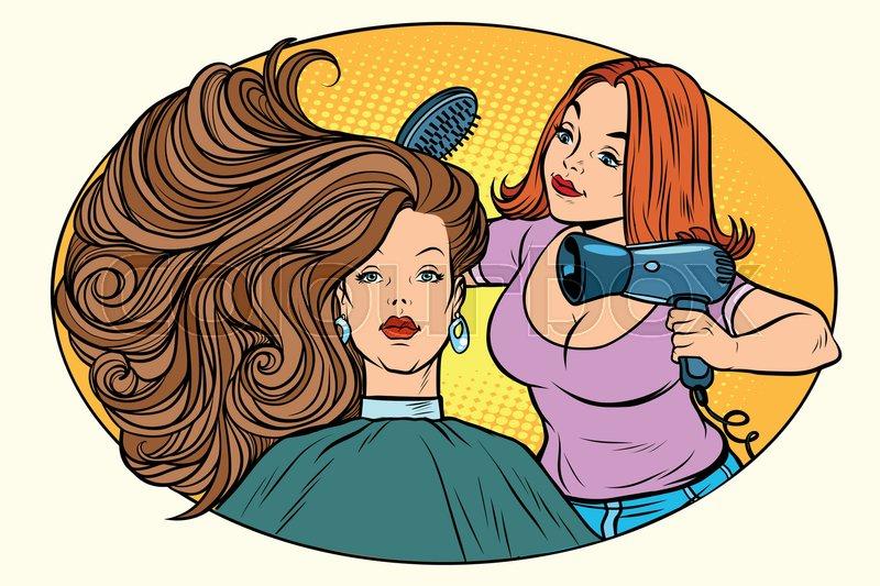 Blow Drying Women Hair Barber Comic Book Cartoon Pop Art