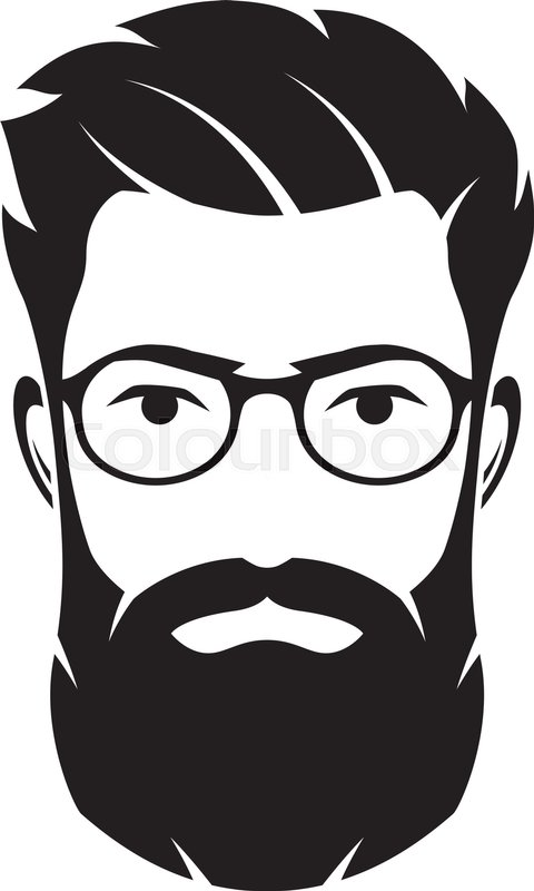 Bearded Men Face Hipster Character Fashion Silhouette