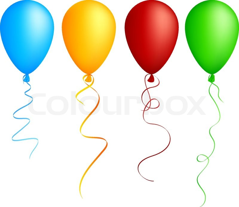 Realistic Color Balloons Used Mesh Stock Vector