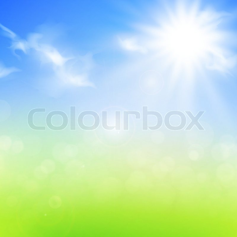 Summer Or Spring Background With Blue Sky And Sun Stock