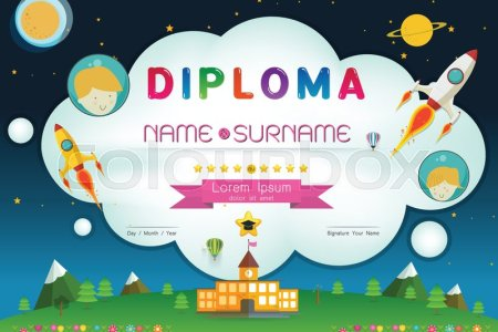 Certificate kids diploma  kindergarten template layout space     Certificate kids diploma  kindergarten template layout space background  frame design vector  education preschool concept flat art style   Stock  Vector