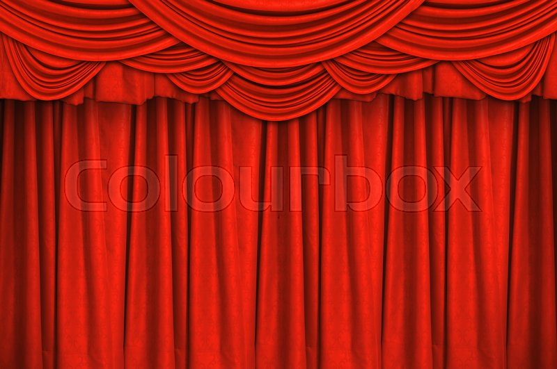 Red Closed Curtain On The Stage For Background Stock Photo Colourbox