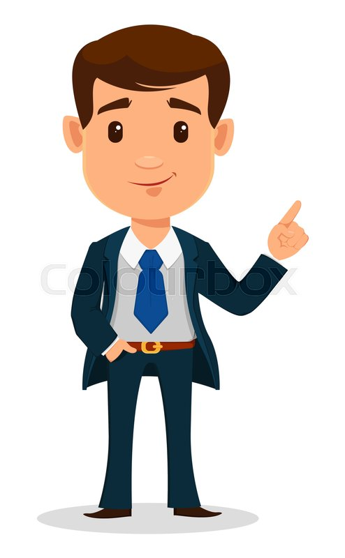 Business Man Cartoon Character In Smart Clothes Office