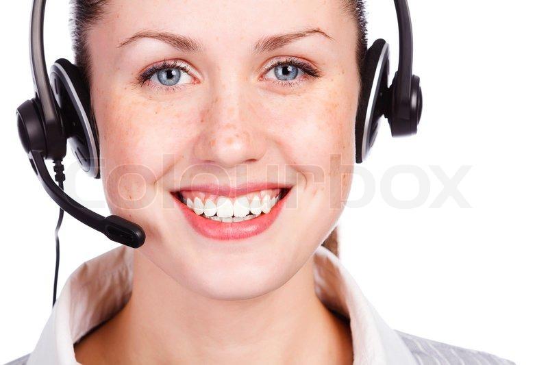 Beautiful Customer Service Operator Woman With Headset