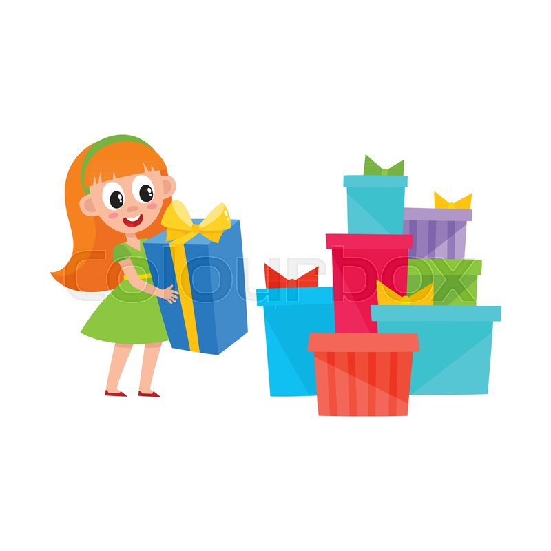 Cute pretty little girl holding a present box and heap  pile of many     Cute pretty little girl holding a present box and heap  pile of many  Christmas  New Year  birthday gifts  cartoon vector illustration isolated  on white