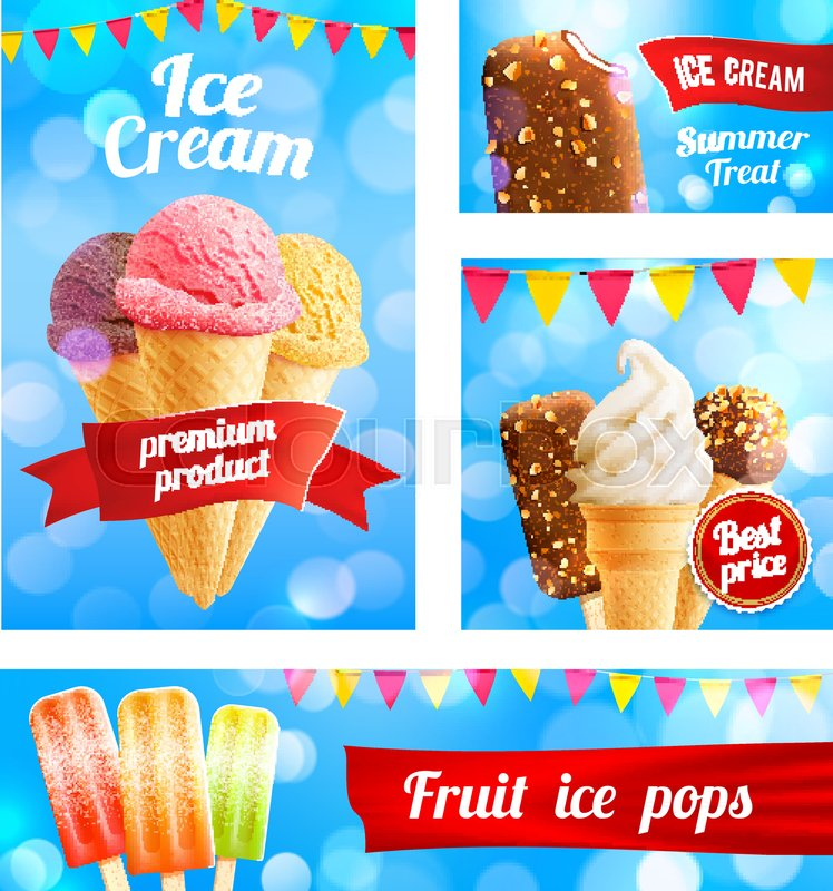 ice cream cafe poster or advertising