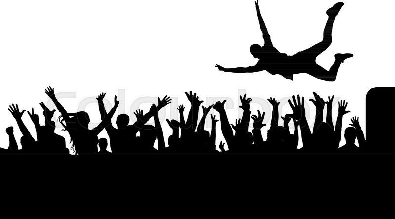 Jump From Stage To Crowd Silhouette Stock Vector Colourbox
