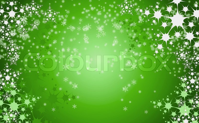 Green Christmas Background With White Snow Flakes Stock