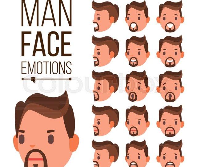 Cute Joy Laughter Sorrow Human Psychological Portraits Isolated Flat Cartoon Illustration Stock Vector Colourbox