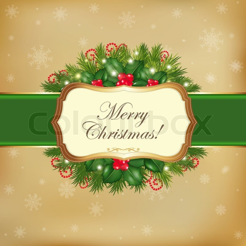 Merry Christmas Card With Garland Vector Illustration