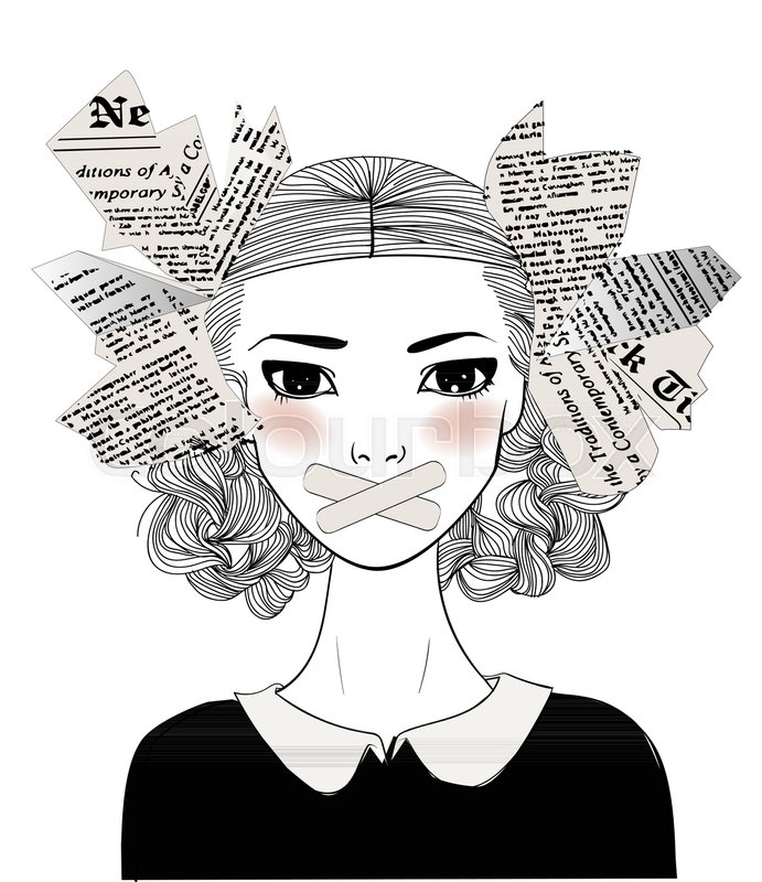 Image result for black and white little girl with her mouth covered cartoon