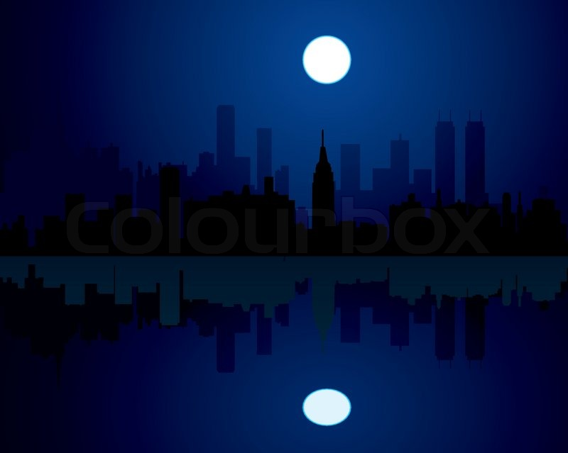 Vector City At Night Background Stock Vector Colourbox
