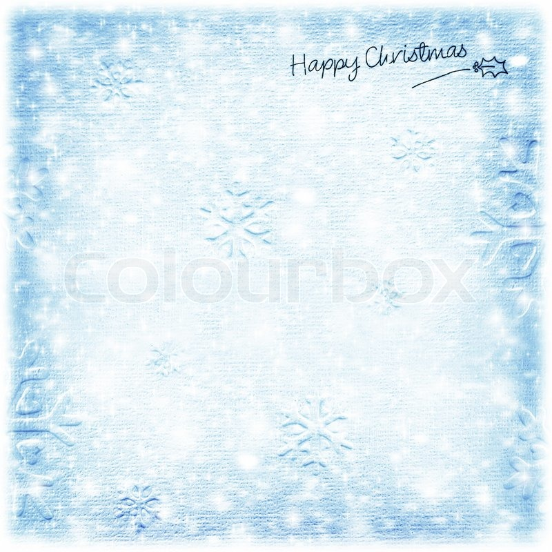 Beautiful Blue Happy Christmas Card Winter Holiday