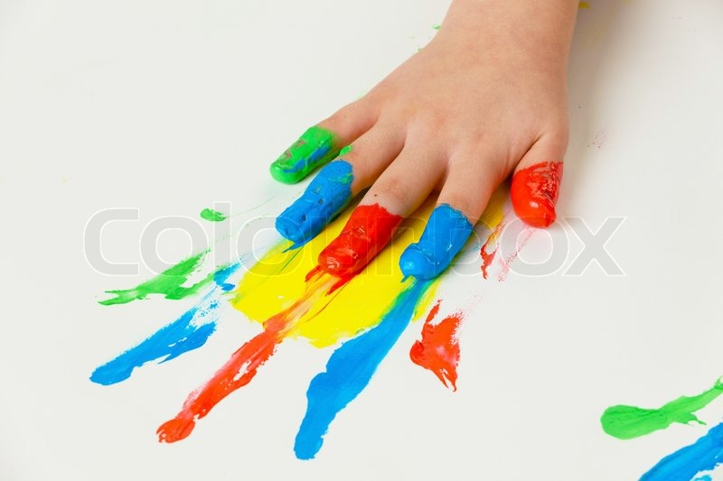 A Child Painting With Finger Paints Stock Photo Colourbox