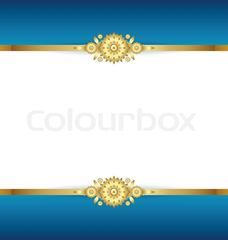 Document Template With Blue And Golden Floral Background