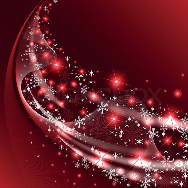 Dark Red Background With A Tail Sparkling Snowflakes