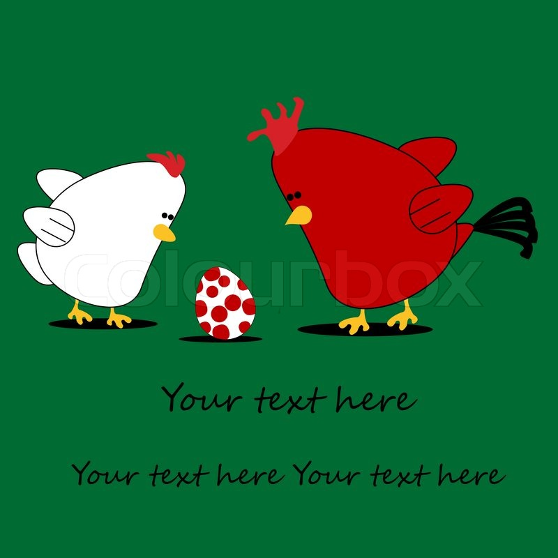 Funny Chicken And Rooster Illustration Stock Photo