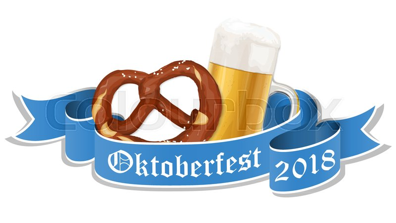Oktoberfest 2018 background with a pretzel and a glass of beer     Oktoberfest 2018 background with a pretzel and a glass of beer  vector