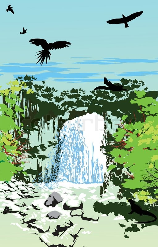 Waterfall Whit The Sky Birds In The Jungle Stock Vector