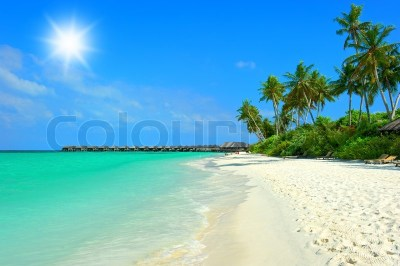Landscape of tropical island beach with perfect blue sunny ...