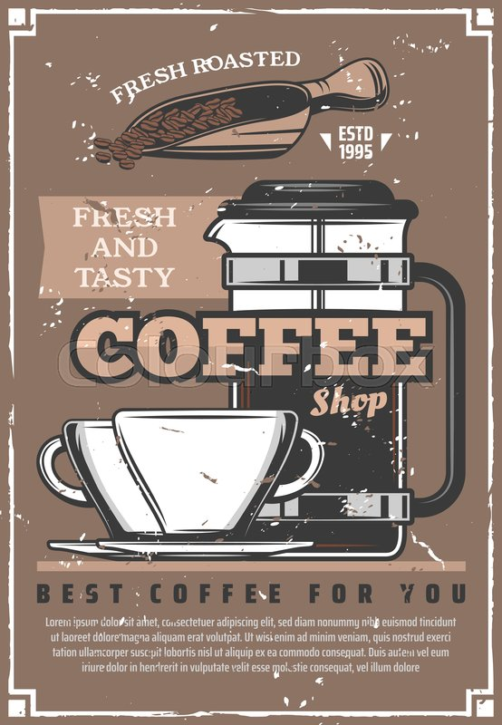 coffee shop retro poster cafe or