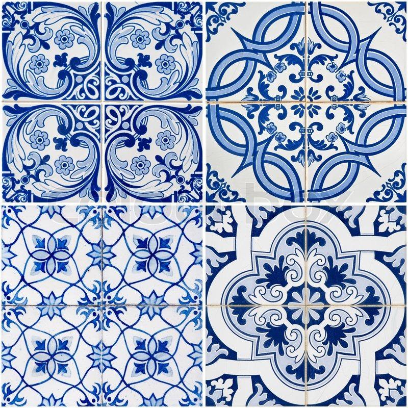 vintage ceramic tiles stock image