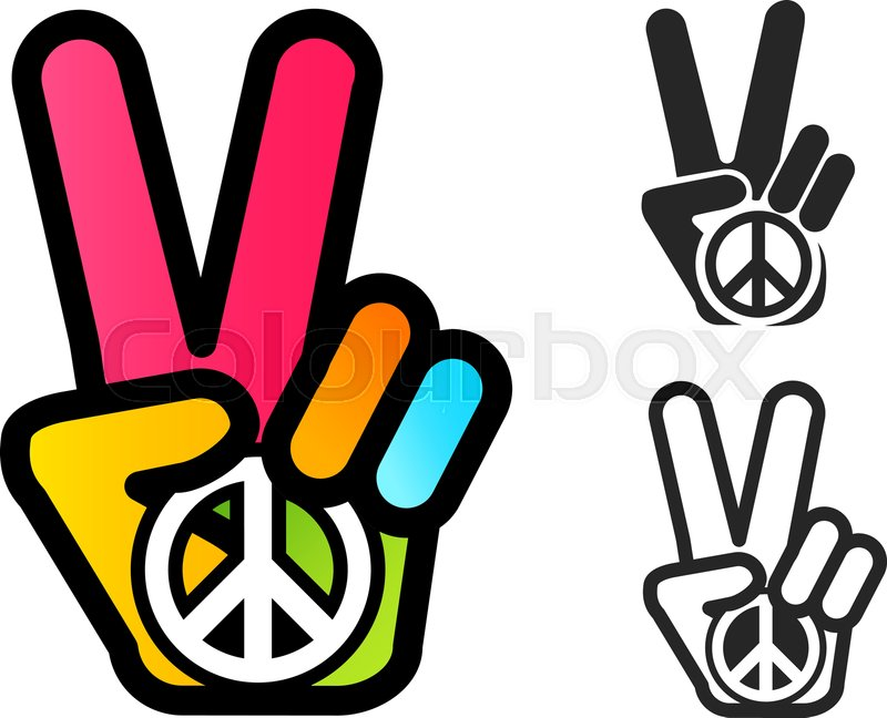 Vector Icon With Colorful Hand And Stock Vector Colourbox