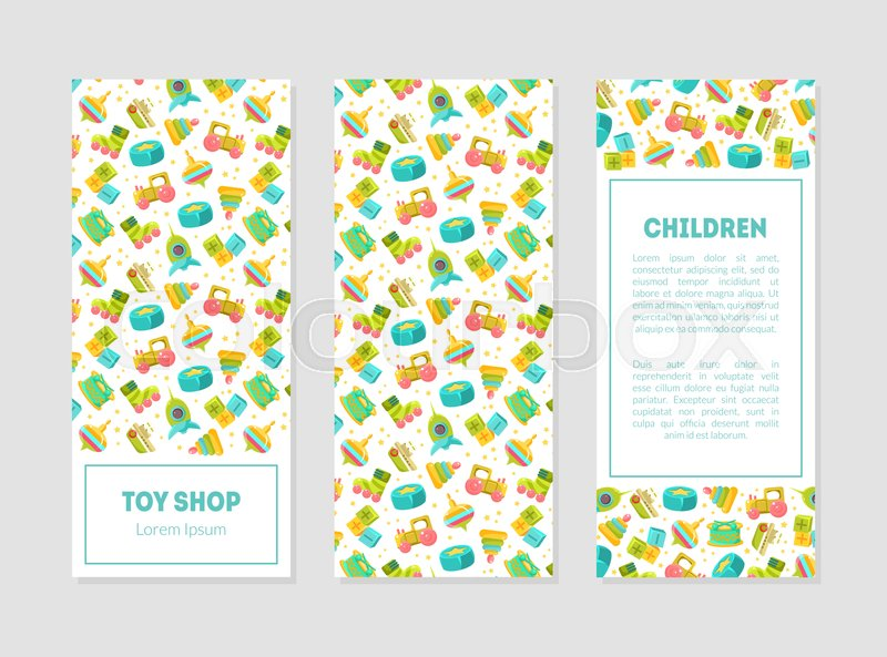 Toy Shop Banner Templates With Cute Stock Vector