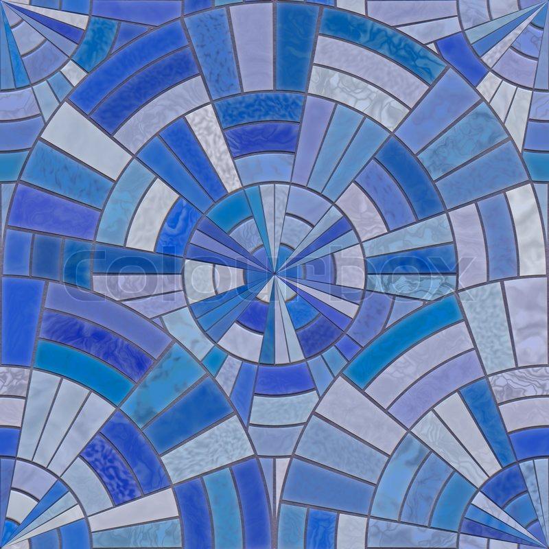 blue circular tiles stock image