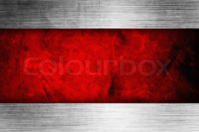 Silver Background With Rich Red Ribbon Stock Photo