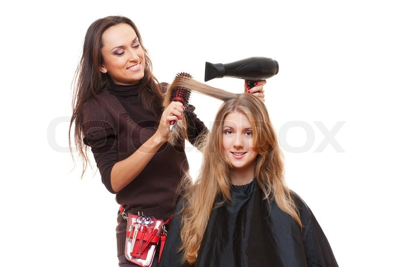 Studio Shot Of Hairdresser And Young Woman Isolated On