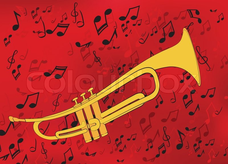 Abstract Music Background With A Golden Trumpet Stock