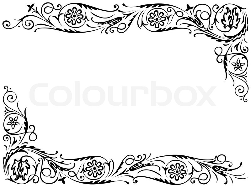 Design Frame With With Black Swirling Stock Vector