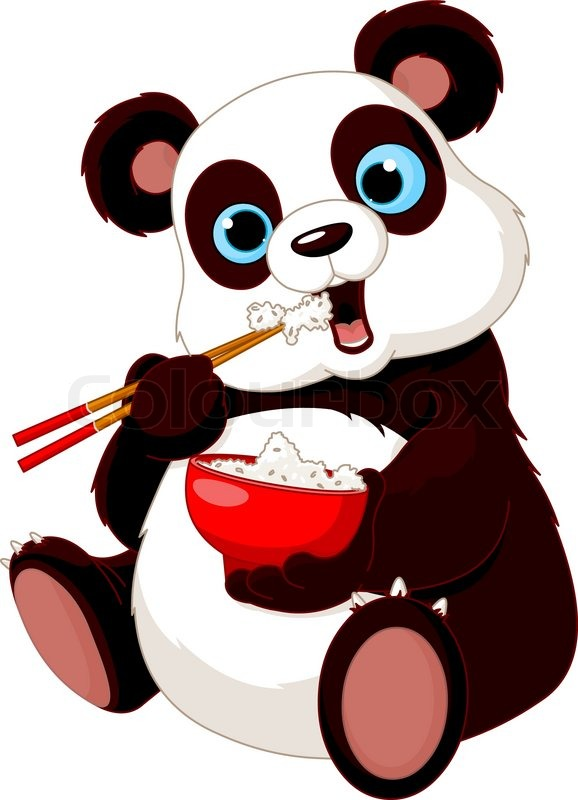 Panda Eating Rice Stock Vector Colourbox