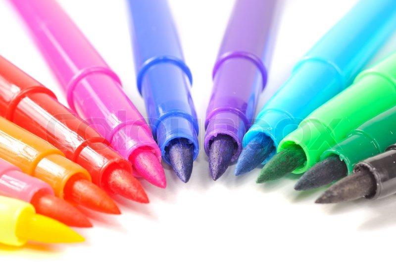 Multicolored Felt Tip Pens Stock Photo Colourbox